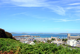 View over Hugh Town from The View, Scilly.